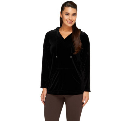 """As Is"" Susan Graver Stretch Velvet Long Sleeve Hooded Pullover"