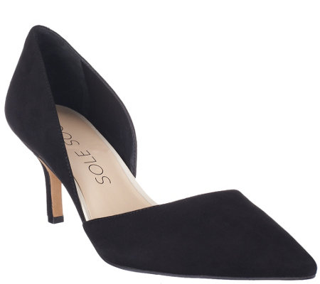 """As Is"" Sole Society Suede Mid-heel Pumps - Jenn"