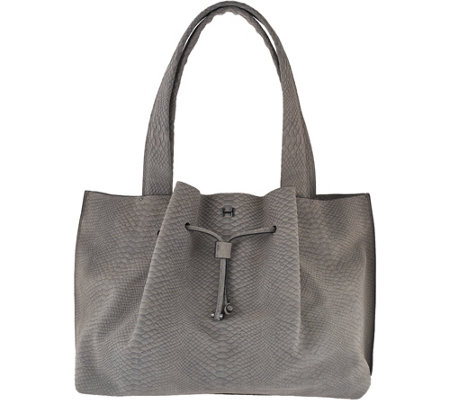 H by Halston Croco Embossed Suede Satchel Handbag