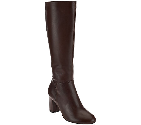 H by Halston Leather Tall Shaft Heeled Boots - Beverly