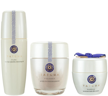 TATCHA Cleansing Oil, Polishing Enzyme Powder & Silk Cream