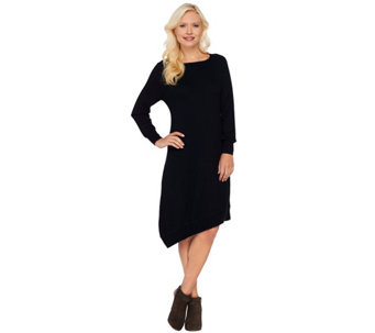 H by Halston Asymmetrical Hem Raglan Sleeve Sweater Dress - A270242