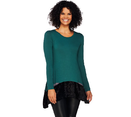 LOGO by Lori Goldstein Knit Top with Crushed Velvet Hem & Pockets