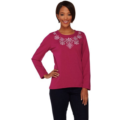 Denim & Co. Jersey Long Sleeve Top with Embroidery
