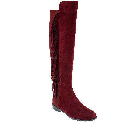 Marc Fisher Suede Tall Shaft Fringe Boots - Myndee