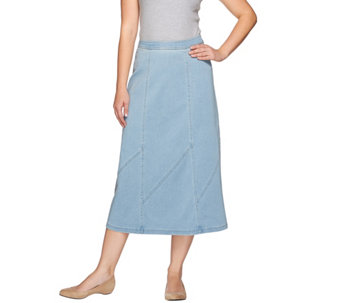 Denim & Co. Stretch Denim Midi Skirt with Panel Details - A272142