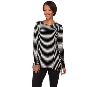 LOGO by Lori Goldstein Striped Knit Top with Side Slits - A272842