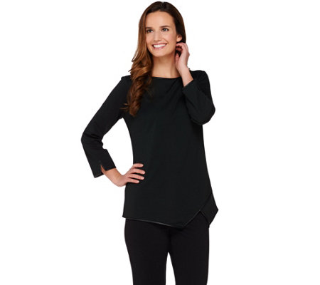 Dennis Basso Ponte Knit Top with Faux Leather Trim