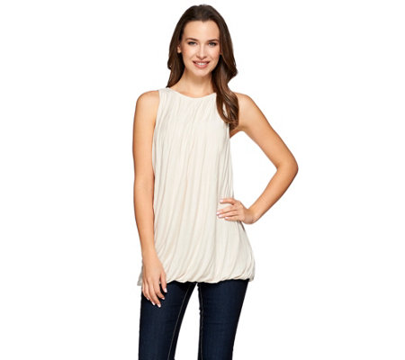 H by Halston Sleeveless Knit Tank with Pleated Neckline Detail