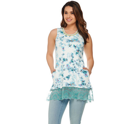 LOGO Lounge by Lori Goldstein Printed Tank w/ Ribbed Neckline & Lace Hem