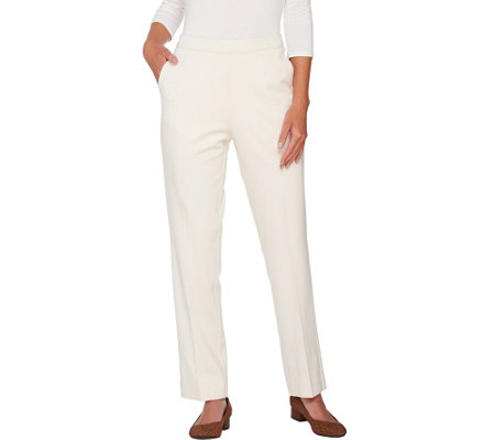 """As Is"" Susan Graver Ponte Knit Comfort Waist Straight Leg Pants"