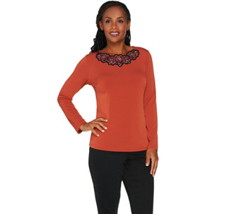 Bob Mackie's Floral Embroidered Knit Pullover - A279242