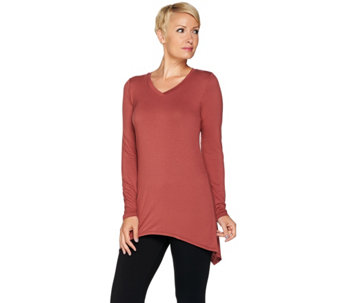 LOGO Layers by Lori Goldstein Knit Top with Asymmetric Hem - A279442