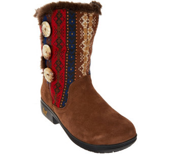 """As Is"" Alegria Suede & Knit Mid-calf Boots w/ Faux Fur - Nanook - A280642"