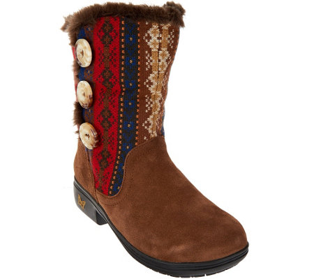 """As Is"" Alegria Suede & Knit Mid-calf Boots w/ Faux Fur - Nanook"