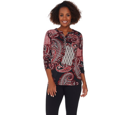 Susan Graver Printed Liquid Knit Y-Neck Top