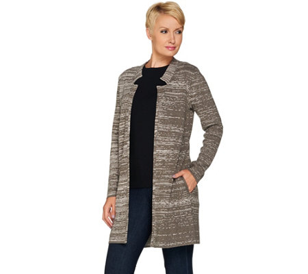 H by Halston Double Knit Engineered Jacquard Sweater Coat