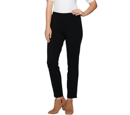 H by Halston Petite Slub Ponte Pull-On Ankle Pants
