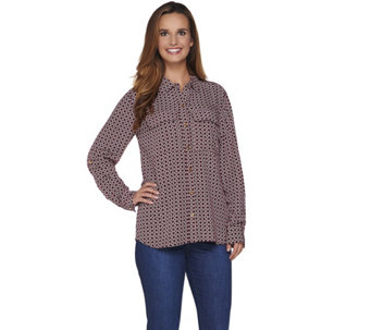 "C. Wonder Rope Print Button Front ""Carrie"" Blouse - A281442"