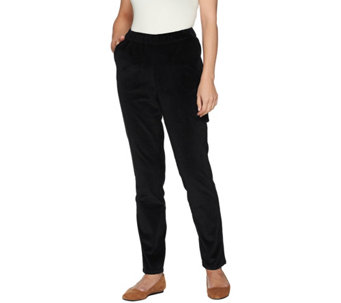 Denim & Co. Petite Slim Leg Wide Wale Corduroy Pants with Pockets - A282442