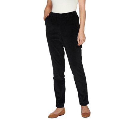 Denim & Co. Petite Slim Leg Wide Wale Corduroy Pants with Pockets
