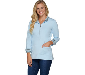 Susan Graver Weekend French Terry Half Zip Pullover Top - A282942