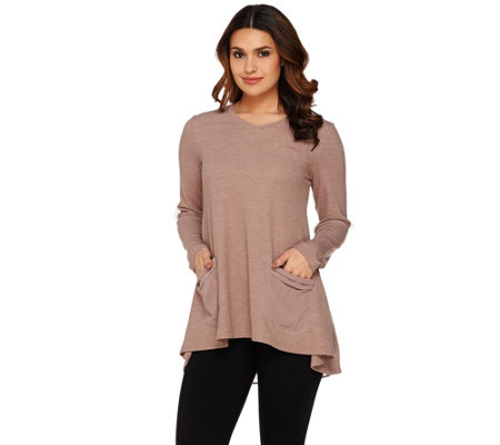"""As Is"" LOGO by Lori Goldstein Thermal Knit Top with Chiffon Back"