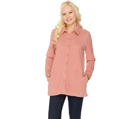 Denim & Co. Essentials Long Sleeve Fleece Big Shirt with Pockets