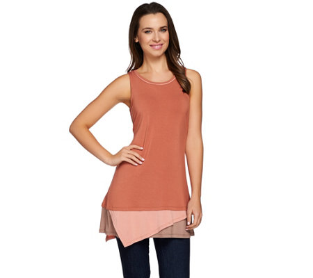 """As Is"" LOGO by Lori Goldstein Knit Tank with Contrast Hem"