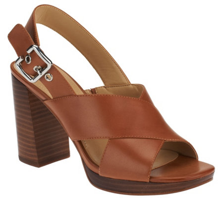 """As Is"" Marc Fisher Leather Cross-band Sandals - Faithe"