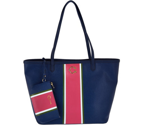 """As Is"" C. Wonder Large Racing Stripe Tote Bag with Mini Pouch"