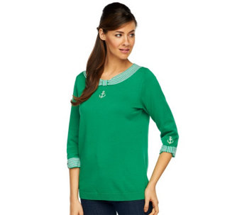 """As Is"" Quacker Factory Anchor Detail 3/4 Sleeve Sweater - A284942"