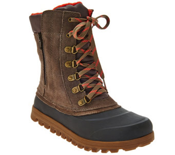 """As Is"" BareTraps Suede Lace-up Water Repellant Outdoor Boots - A285242"