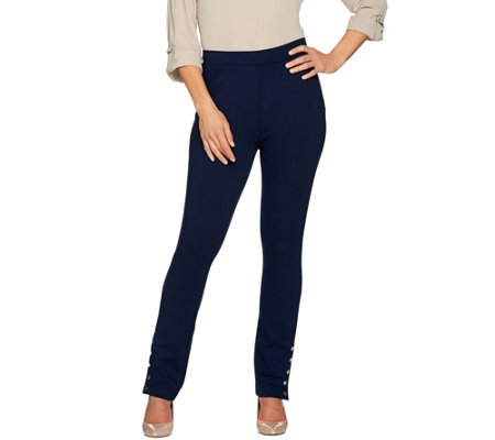 Susan Graver Ponte Knit Pull-On Slim Leg Pants with Snaps