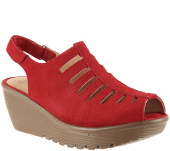 Skechers Suede Peep-toe Sling-back Wedges - Trapezoid - A287042