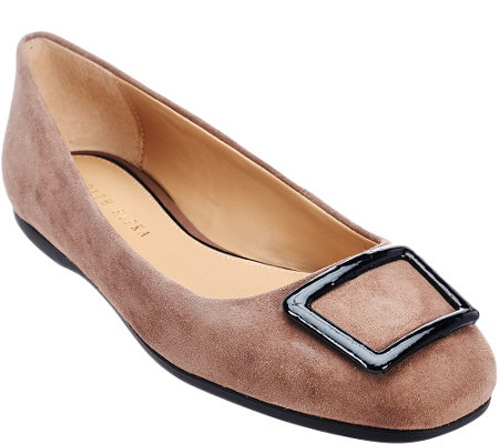 """As Is"" Judith Ripka Sued Slip-on Flats w/ Buckle Detail - Sally"