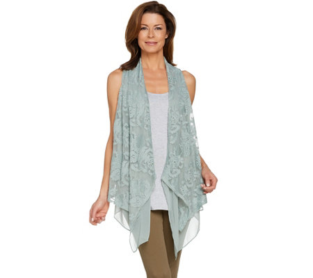 LOGO Lavish by Lori Goldstein Embroidered Drape Front Vest w/ Yoryu