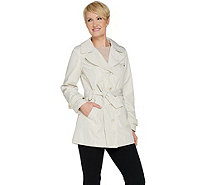 Susan Graver Water Resistant Button Front Trench Coat with Tie Belt - A288742