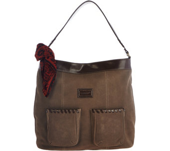 """As Is"" Tignanello Suede RFID Front Pocket Hobo with Scarf - A288942"