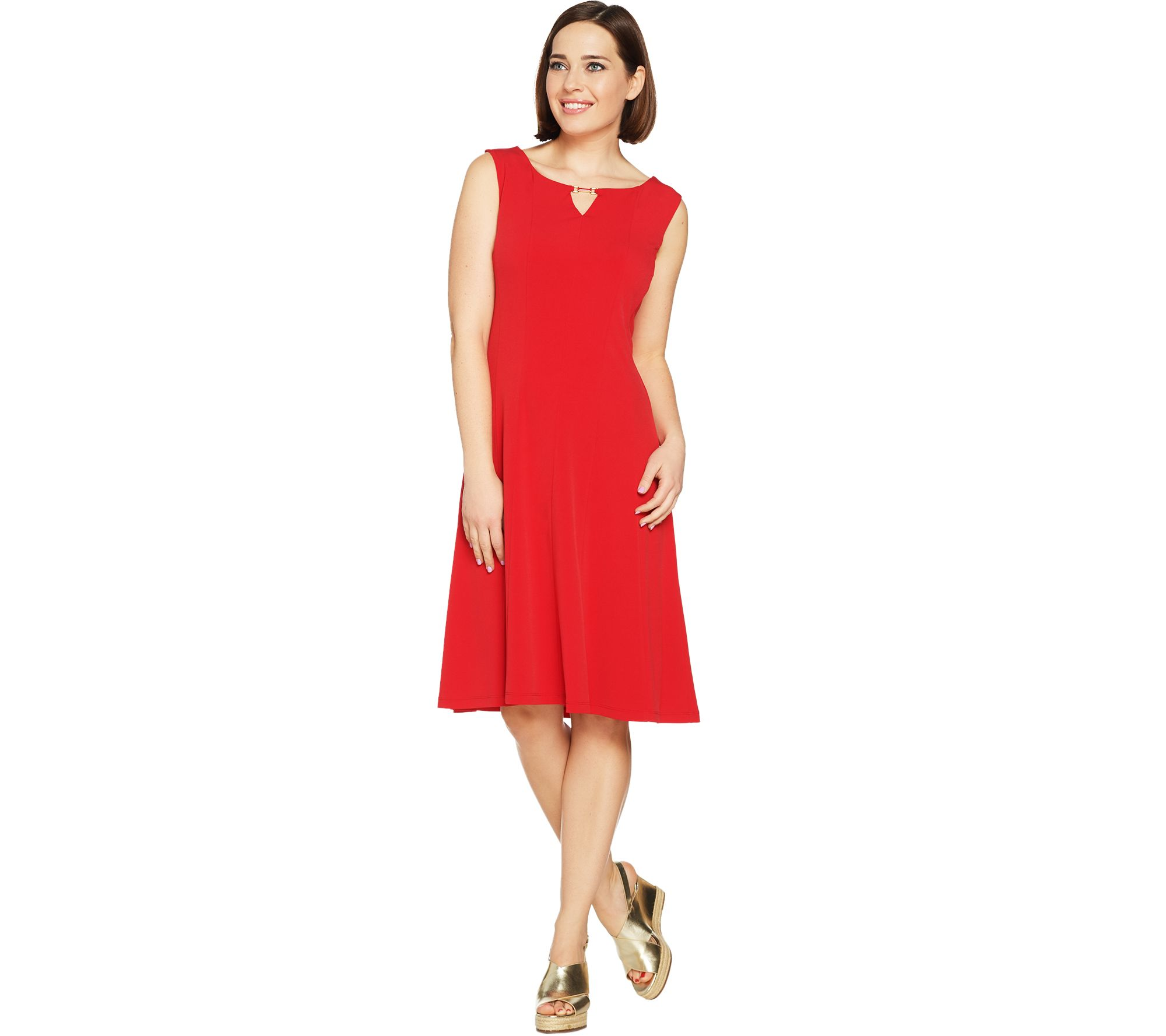 Susan Graver Liquid Knit Sleeveless Dress with Keyhole Trim - A289442
