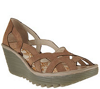 FLY London Leather Slip-on Wedge Sandals - Yadi - A290442