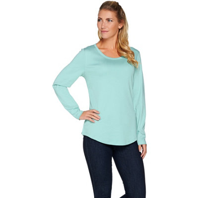 """As Is"" Isaac Mizrahi Live! Essentials Pima Cotton Top with Shirttail Hem"