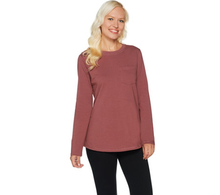 Denim & Co. Active French Terry Long Sleeve Scoop Neck Top