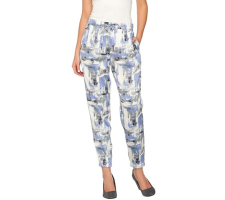 """As Is"" H by Halston Block Print Pull-On Jogger Pants w/ Drawstring"