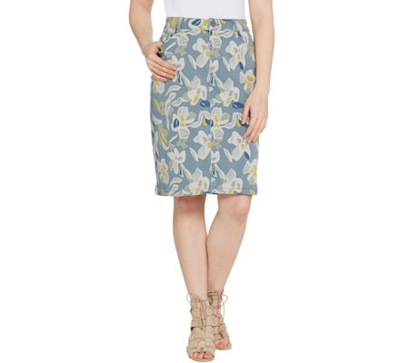 LOGO by Lori Goldstein Printed Stretch Twill 5-Pocket Pencil Skirt
