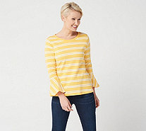 Isaac Mizrahi Live! Scoop Neck Striped Top w/ Bell Sleeves - A301942