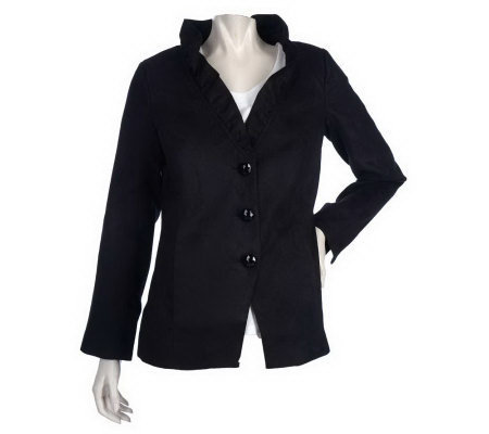 Dennis Basso Stretch Faux Suede 3-Button Blazer with Ruffle Detail
