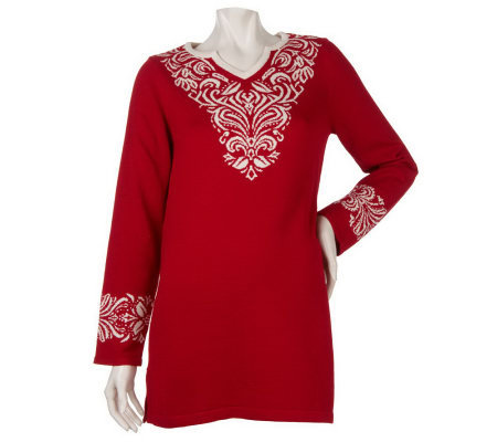 Susan Graver Split Neck Sweater Tunic with Neck & Cuff Detail