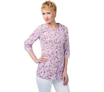 Liz Claiborne New York Printed Button Down Tunic with Pintucks - A220943