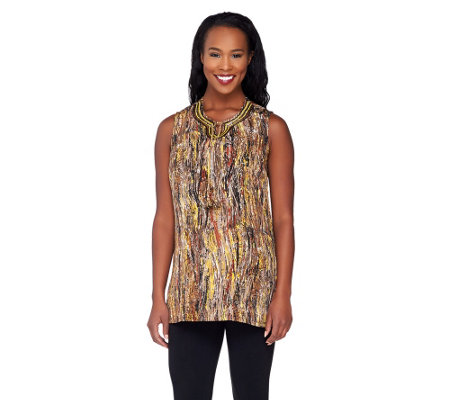 Susan Graver Printed Woven Sleeveless Tunic with Beaded Neckline